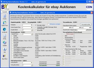 Screenshot vom Programm: CDN Bay Kostenkalkulator